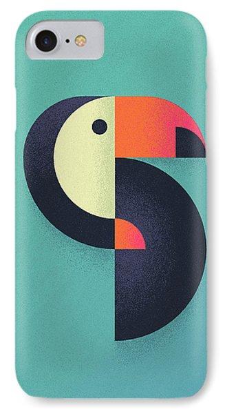 Toucan Geometric Airbrush Effect IPhone Case by Ivan Krpan