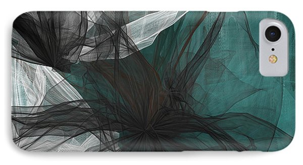 Touch Of Class - Black And Teal Art IPhone Case by Lourry Legarde