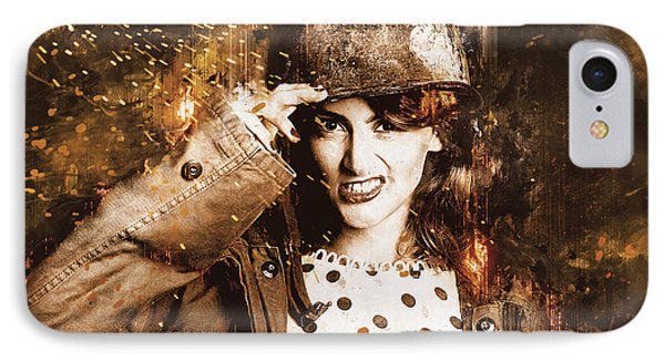 Tough Pin Up Soldier IPhone Case by Jorgo Photography - Wall Art Gallery