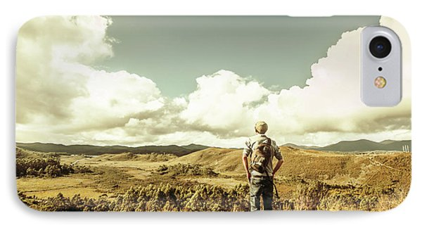 Tourist With Backpack Looking Afar On Mountains IPhone Case