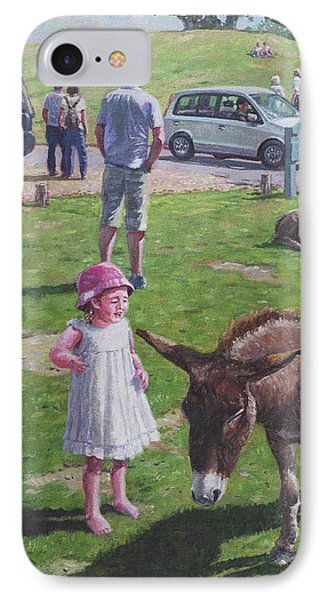 IPhone Case featuring the painting Tourists At Boltons Bench New Forest  by Martin Davey