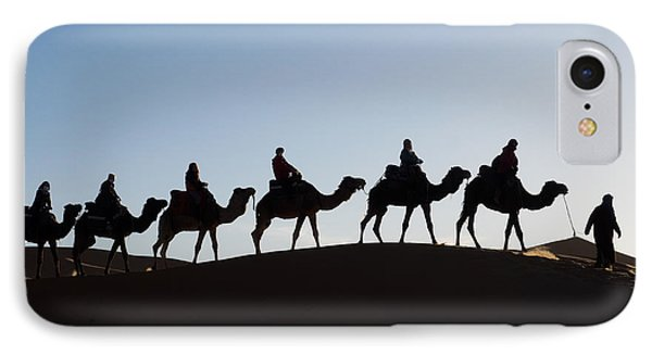 Tourists On Camels Along Top Of Erg IPhone Case by Panoramic Images