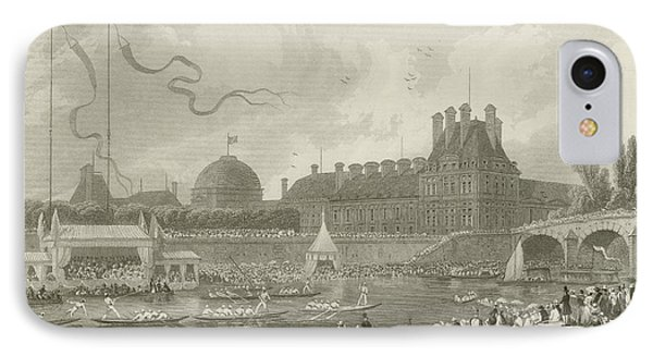 Tournay On The Seine During The July Fetes IPhone Case by Eugene-Louis Lami