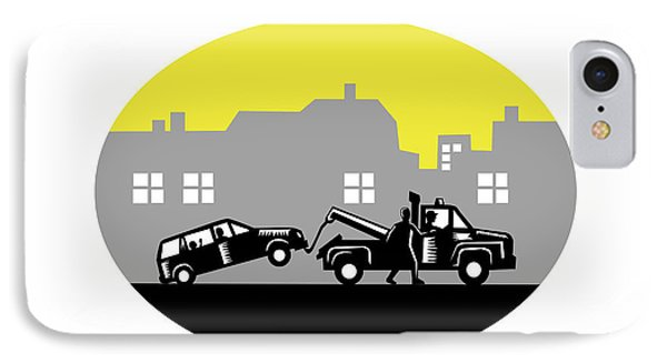 Tow Truck Towing Car Buildings Oval Woodcut IPhone Case