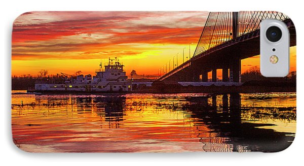 Towboat Going Under The Clark Bridge Alton Illinois IPhone Case by Garry McMichael