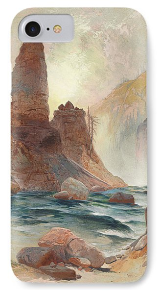 Tower At Tower Falls, Yellowstone IPhone Case by Thomas Moran