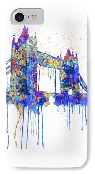 Tower Bridge Watercolor IPhone 7 Case by Marian Voicu
