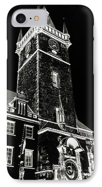 IPhone Case featuring the photograph Tower Of Old Town Hall In Prague. Black by Jenny Rainbow