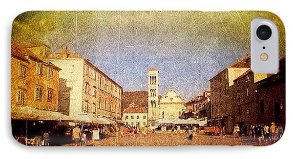 Town Square #edit - #hvar, #croatia Phone Case by Alan Khalfin