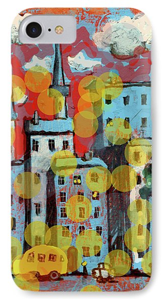 Town With A School Bus IPhone Case by Maxim Komissarchik