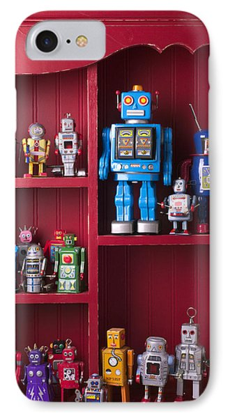 Toy Robots On Shelf  Phone Case by Garry Gay