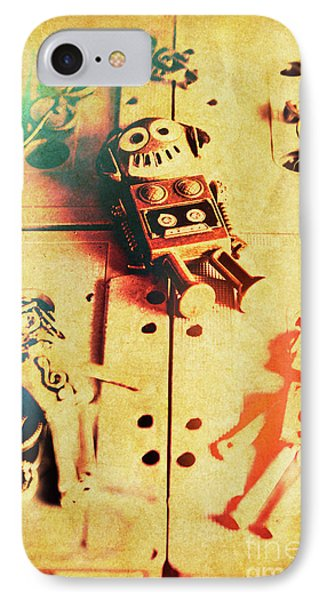 Toy Robots On Vintage Cassettes IPhone Case by Jorgo Photography - Wall Art Gallery