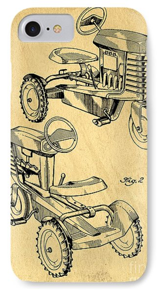 Toy Tractor Patent Drawing IPhone Case by Edward Fielding