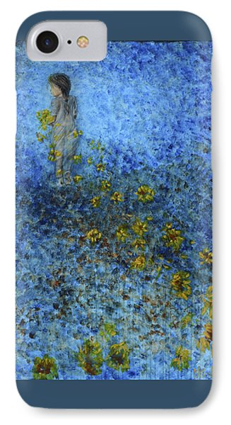IPhone Case featuring the painting Traces Sunflowers Lost by Nik Helbig