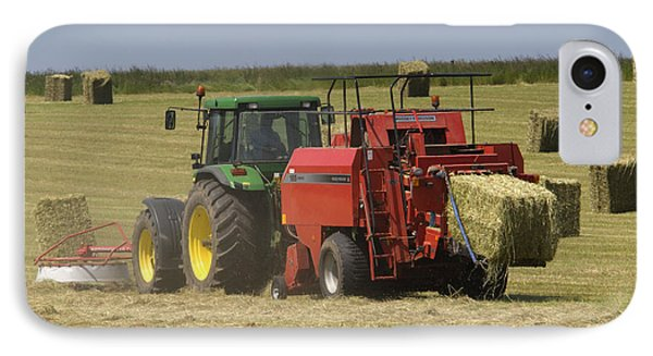 Tractor Bailing Hay At Harvest Time Phone Case by Andy Smy