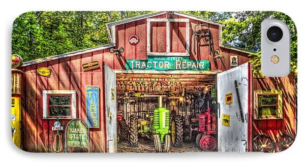 Tractor Repair Shoppe IPhone Case by Debra and Dave Vanderlaan