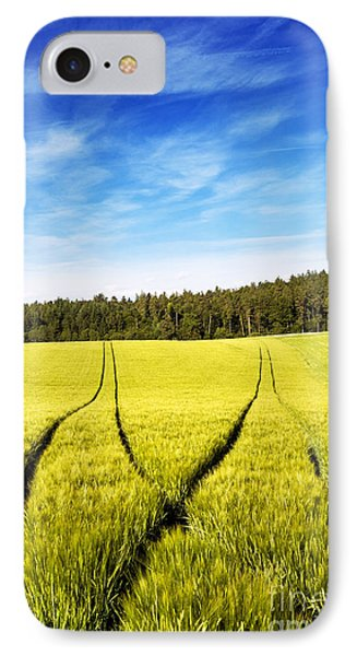 Tractor Tracks In Wheat Field IPhone Case by Carsten Reisinger