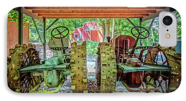 IPhone Case featuring the photograph Tractors Side By Side by Debra and Dave Vanderlaan