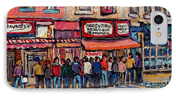 Tradition Schwartz's Line-up Montreal Smoked Meat Deli Painting Canadian  City Scene Carole Spandau IPhone Case