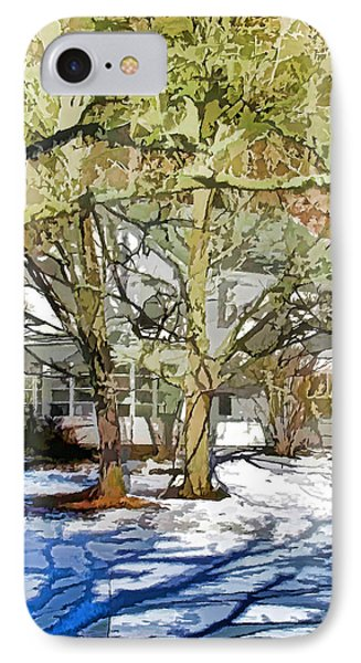 Traditional American Home In Winter Phone Case by Lanjee Chee
