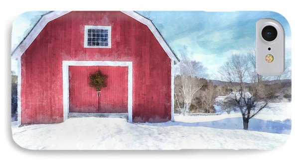 Traditional New England Red Barn In Winter Watercolor IPhone Case by Edward Fielding