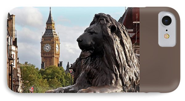 Trafalgar Square Lion With Big Ben IPhone Case by Gill Billington