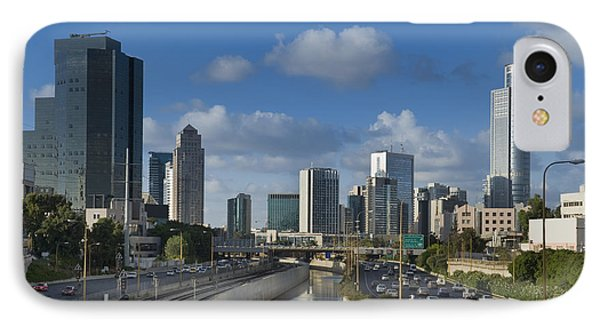 Traffic Flowing In And Out Of Downtown Tel Aviv Phone Case by Noam Armonn