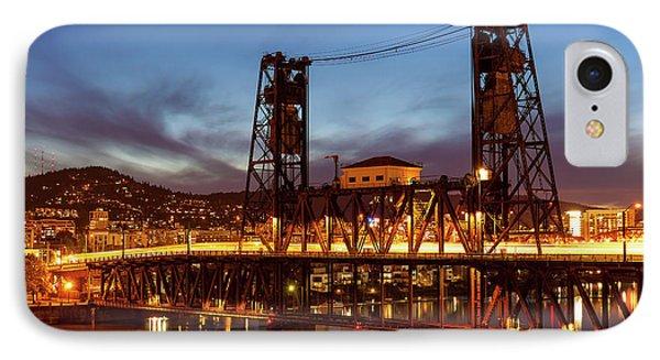 Traffic Light Trails On Steel Bridge Phone Case by David Gn