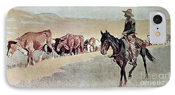 Trailing Texas Longhorns IPhone Case by Frederic Remington