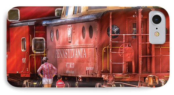 Train - Car - Pennsylvania Northern Region Caboose 477823 IPhone Case by Mike Savad