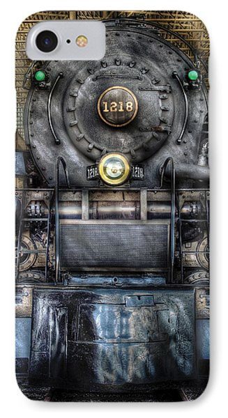 Train - Engine -1218 - Norfolk Western Class A - 1218 - Front View IPhone Case by Mike Savad
