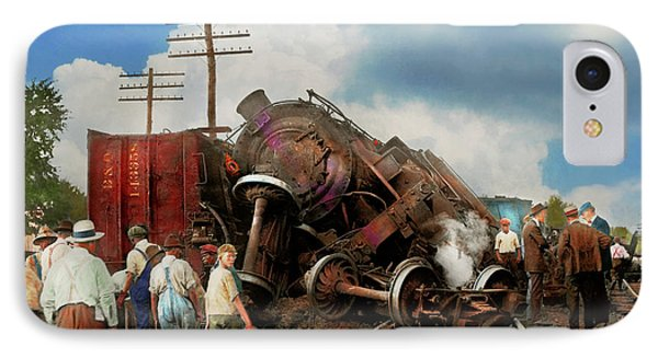 IPhone Case featuring the photograph Train - Accident - Butting Heads 1922 by Mike Savad