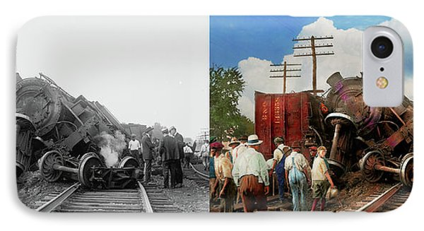 IPhone Case featuring the photograph Train - Accident - Butting Heads 1922 - Side By Side by Mike Savad