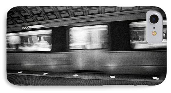 train passing through smithsonian metro underground train system Washington DC USA deliberate motion IPhone Case
