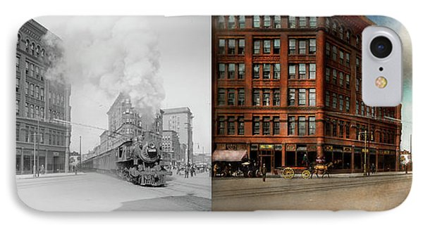 IPhone Case featuring the photograph Train - Respect The Train 1905 - Side By Side by Mike Savad