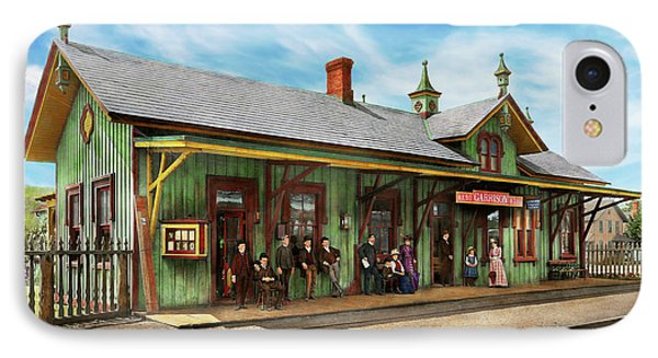 IPhone Case featuring the photograph Train Station - Garrison Train Station 1880 by Mike Savad