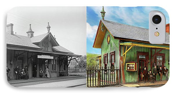IPhone Case featuring the photograph Train Station - Garrison Train Station 1880 - Side By Side by Mike Savad