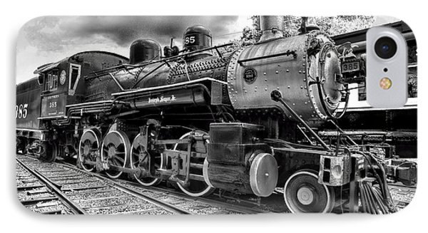 Train - Steam Engine Locomotive 385 In Black And White IPhone Case by Paul Ward