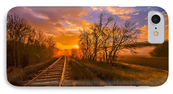 IPhone Case featuring the photograph Train Track Sunrise by Brian Stevens
