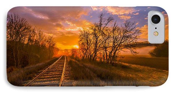 Train Track Sunrise IPhone Case by Brian Stevens