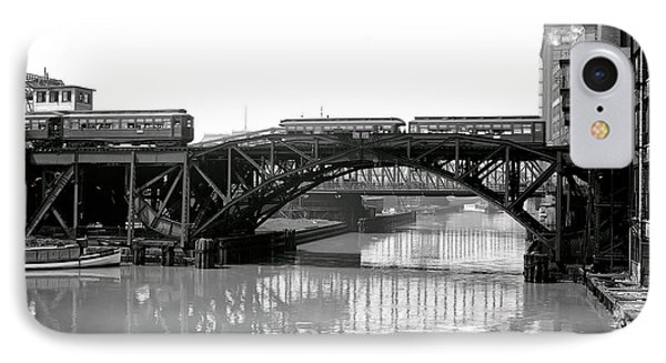 IPhone Case featuring the photograph Trains Cross Jack Knife Bridge - Chicago C. 1907 by Daniel Hagerman