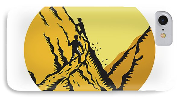 Trampers Climbing Steep Path Mountain Oval Woodcut IPhone Case