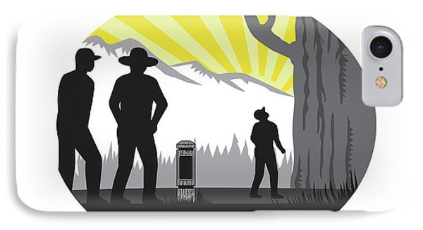 Trampers Mile Marker Giant Tree Oval Woodcut IPhone Case by Aloysius Patrimonio
