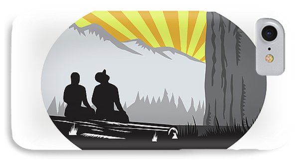 Trampers Sitting Looking Up Mountain Oval Woodcut IPhone Case by Aloysius Patrimonio