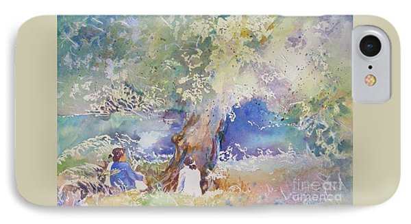 IPhone Case featuring the painting Tranquility At The Brandywine River by Mary Haley-Rocks