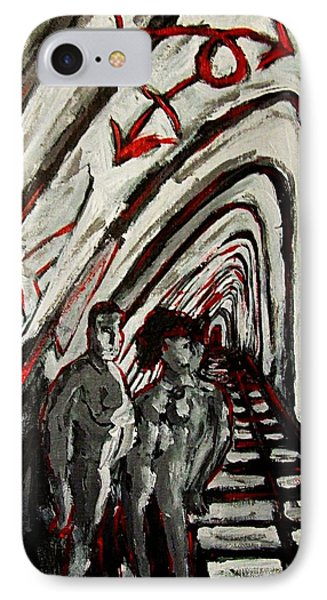 Transgender Entity Nude In Modern Hallway With Arches And Gender Symbols Of Trans Changes Struggle Phone Case by MendyZ M Zimmerman