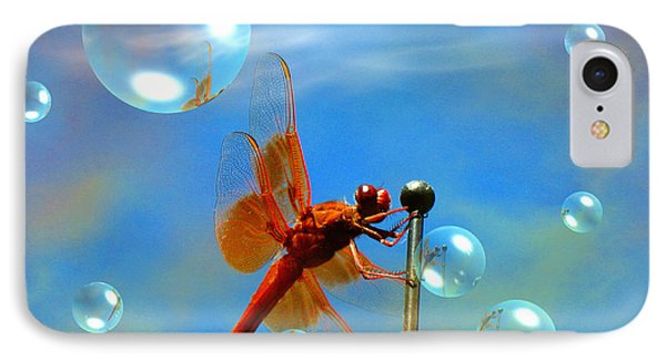 Transparent Red Dragonfly IPhone Case by Joyce Dickens