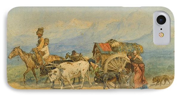 Travellers In A Caucasian Landscape IPhone Case by MotionAge Designs