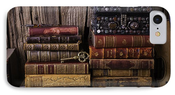 Treasure Box On Old Books IPhone Case by Garry Gay