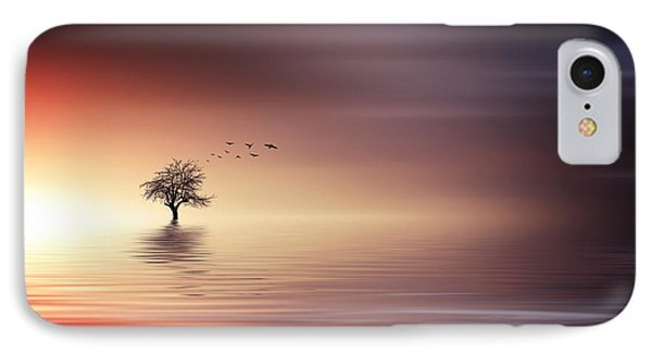 Tree And Birds On Lake Sunset IPhone Case by Bess Hamiti